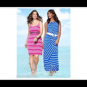 Lane Bryant blue and white striped maxi dress.
